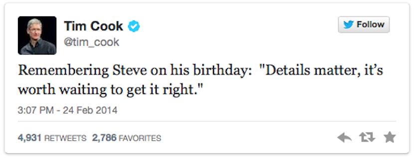 TWEET PRIMERO Tim Cook recuerda a Steve Jobs hoy, el que hubiera sido su 59 cumpleaños