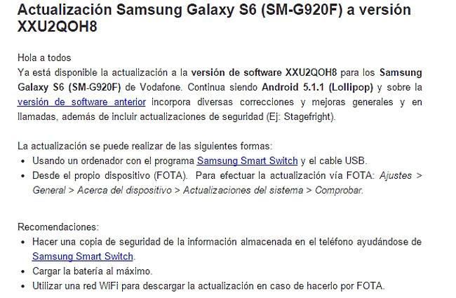 Actualizacion del Samsung Galaxy S6 de Vodafone