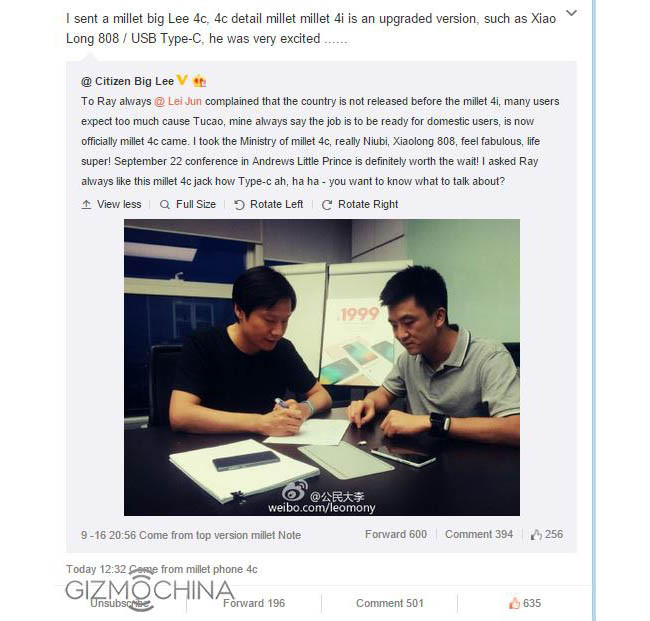 Xiaomi Mi 4c ejecutivos