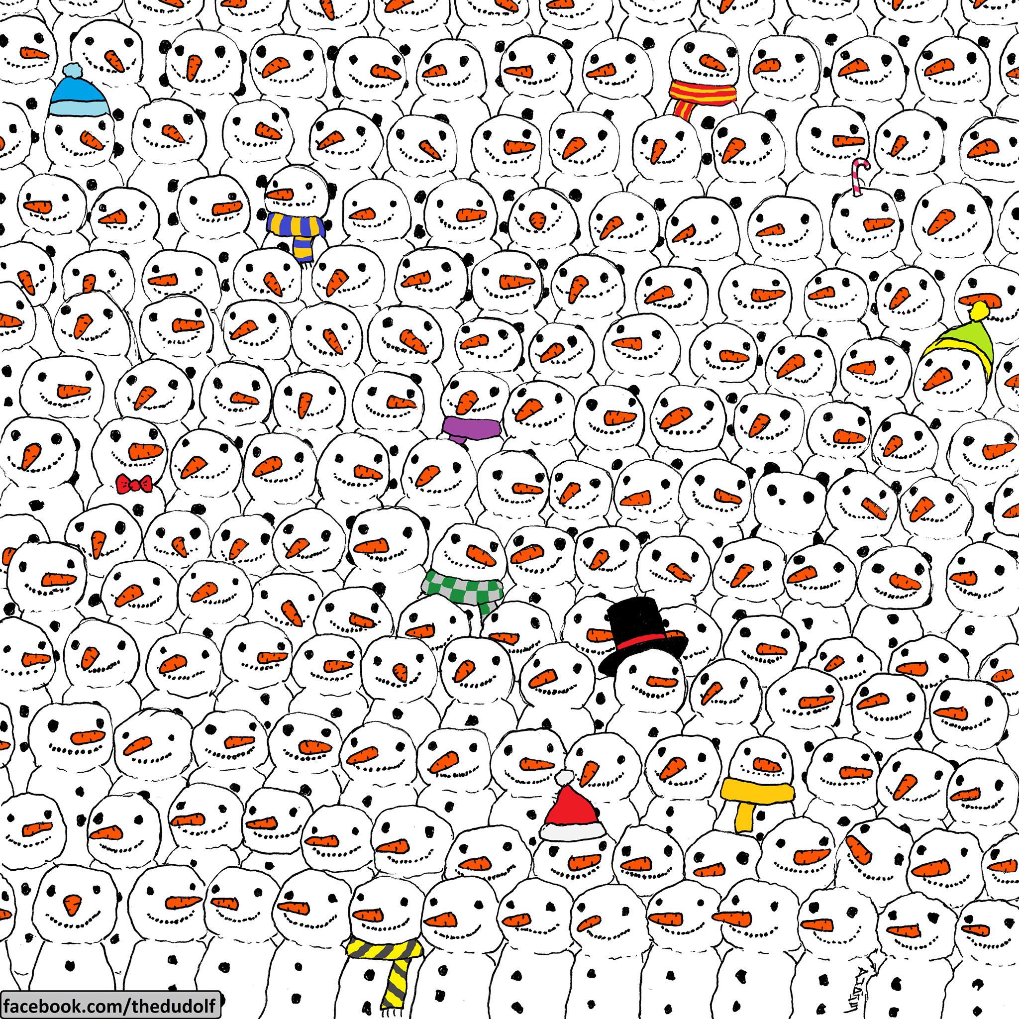 imagen de un panda oculto entre muñecos de nieve