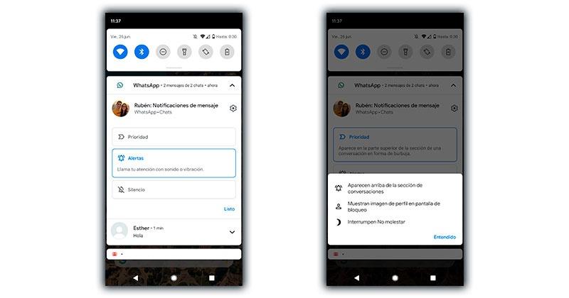 prioridad notificaciones android 11