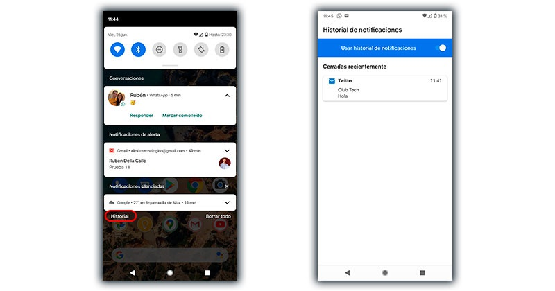 historial notificaciones android 11