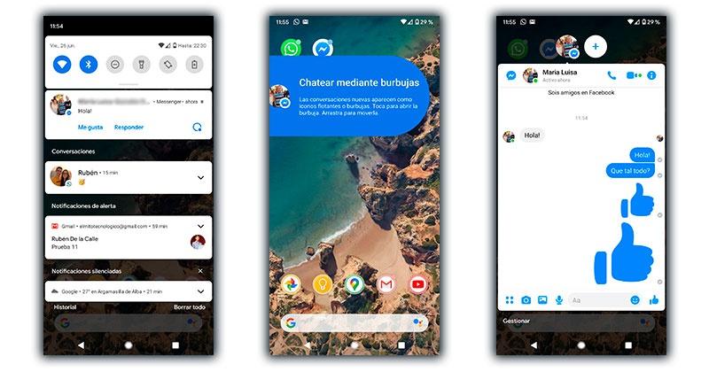 burbujas chat notificaciones android 11