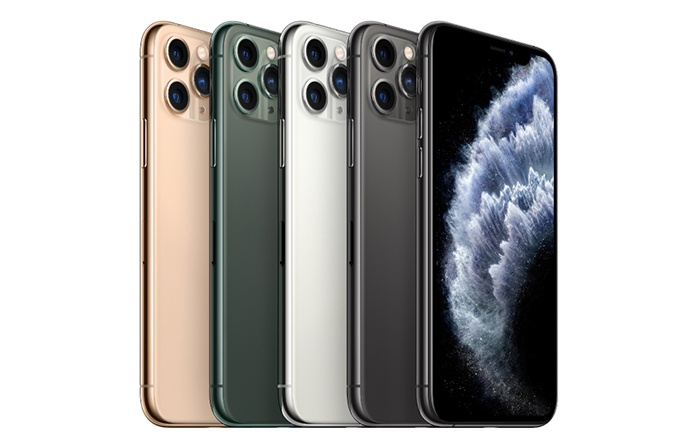 Frontal y trasera del iPhone 11 Pro en varios colores